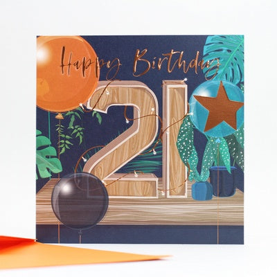 Happy Birthday 21 - Blue Card