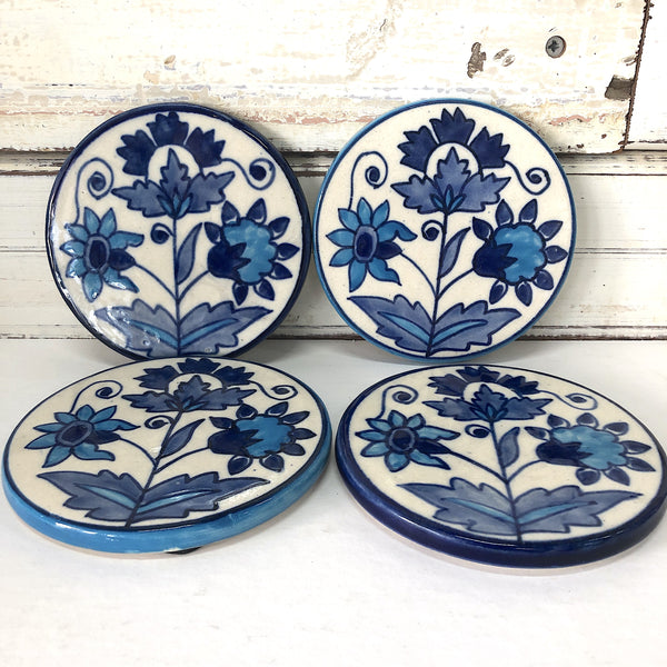 Blue Leaf Coasters S/4