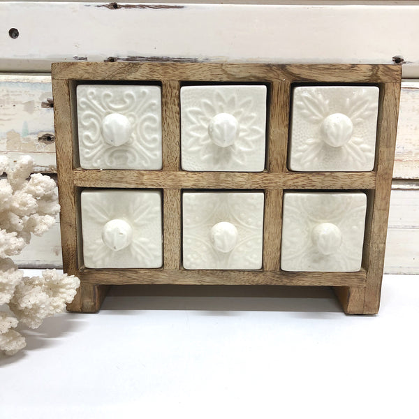 Embossed White 6 Drawer Box