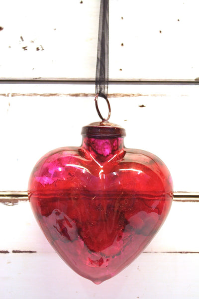 Glass Heart - Lge Clear Red