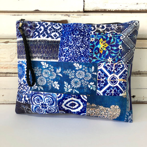 Velvet Clutch Bag - Indigo