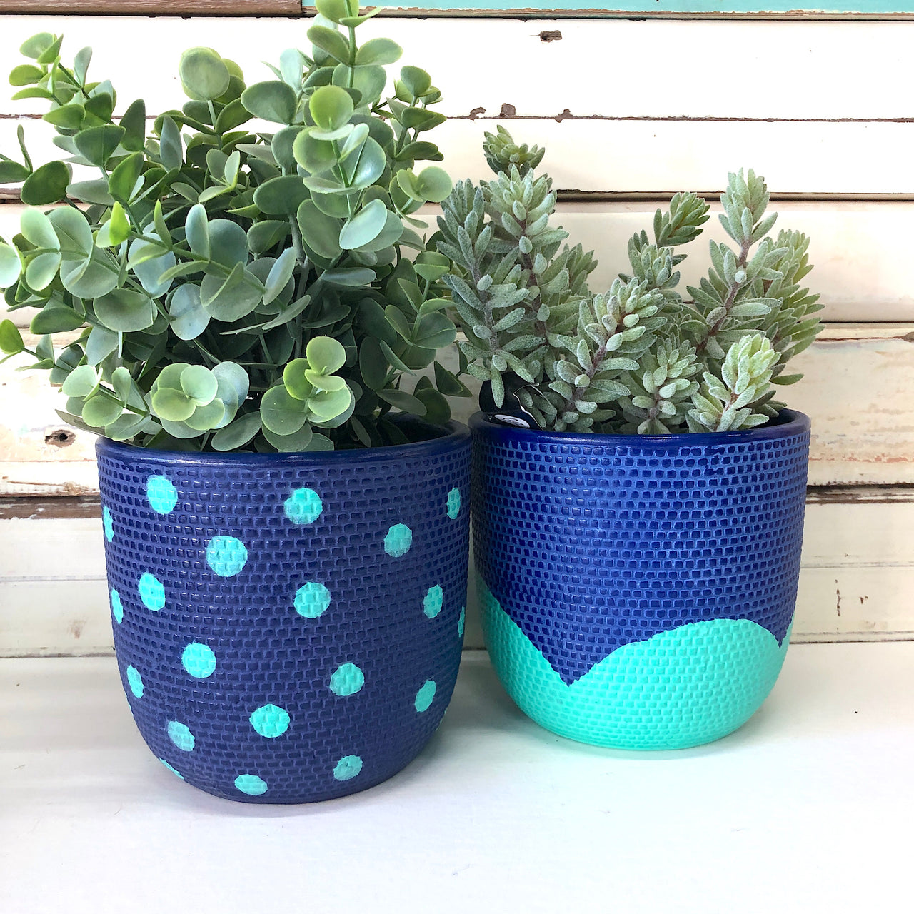Petal Pot - Navy & Mint