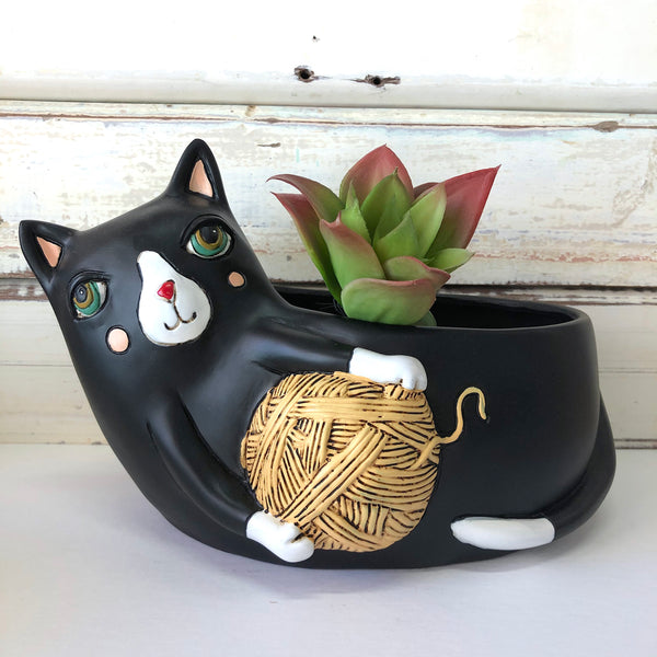 Black Cat with Yarn Planter