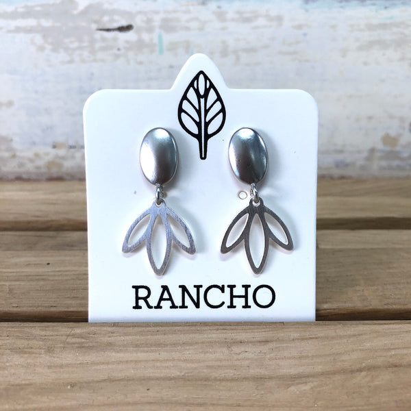 Leaf Drop Stud Earrings