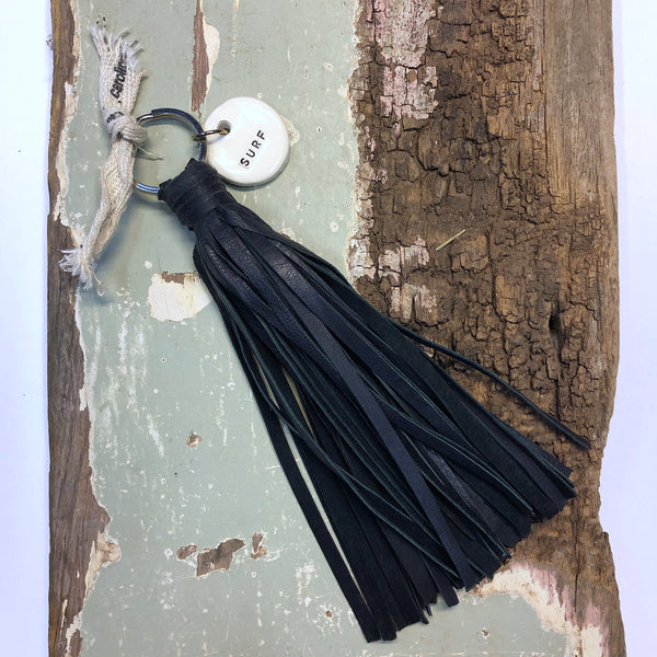 Tassel Keyring - Black Leather Surf