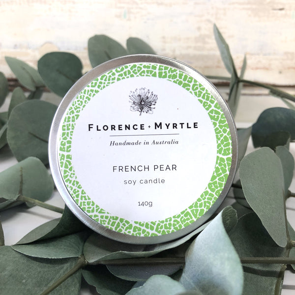 Soy Candle Travel Tin - French Pear