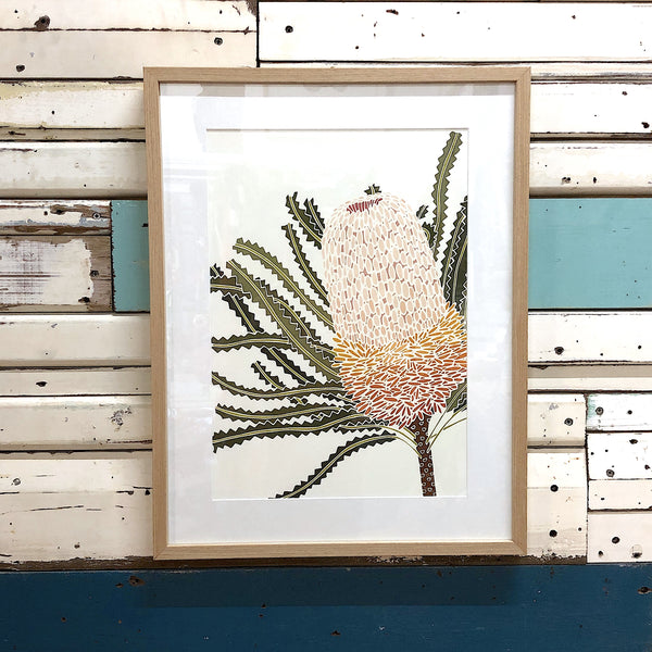 White Banksia Hookeriana - Framed Art Print