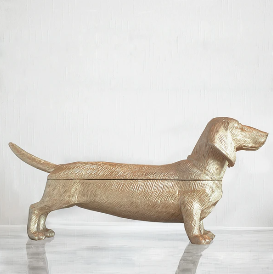 Gold Dachshund Secret Bowl
