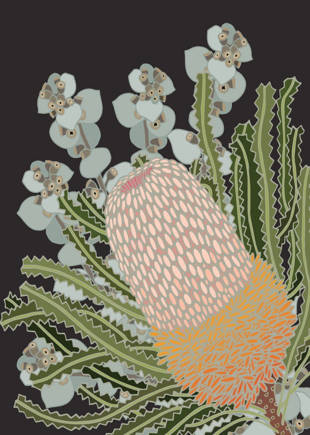 Charcoal Banksia Beauty Art Print