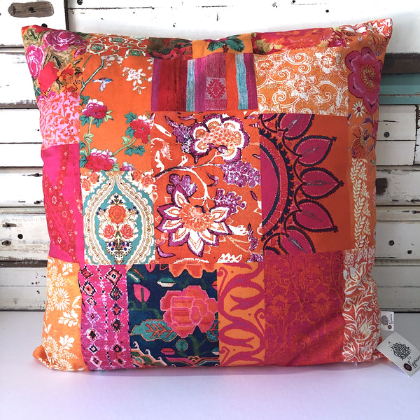 Tangerine Patchwork 2 Square Cushion