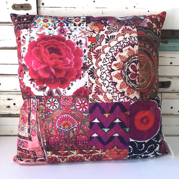 Pink Embroidery Velvet Cushion