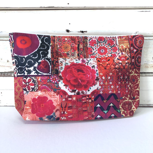 Canvas Make Up Bag - Pink Embroidery