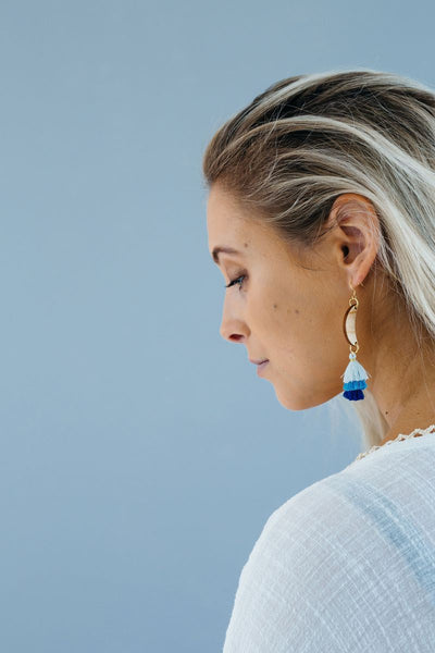 Wooden Moon Tassel Earrings Blue - Stix & Flora