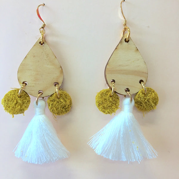 Teardrop Tassel Earrings White - Stix & Flora