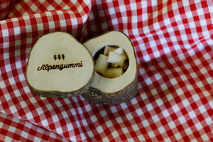 Alpengummi wooden box incl. chewing gums