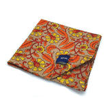 Kevin Seah Hand Block Print Pocket Square - Grey / Orange / Yellow