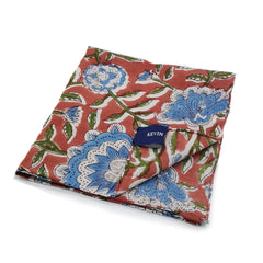 Kevin Seah Hand Block Print Pocket Square - Coral / Blue / Green