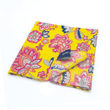 Kevin Seah Hand Block Print Pocket Square - Yellow / Pink