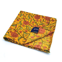 Kevin Seah Hand Block Print Pocket Square - Orange / Purple / Olive