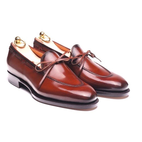 Brown Patina Calf String Loafers