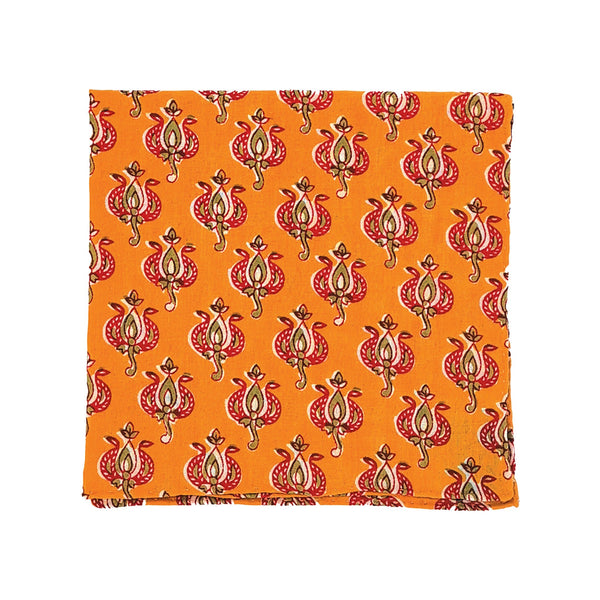 Kevin Seah Hand Block Print Pocket Square - Orange / Red
