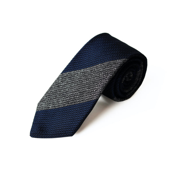 Fresco Tweed Panel Tie (Gray x Dark Navy)