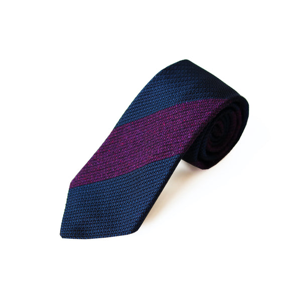 Fresco Tweed Panel Tie (Purple x Dark Navy)