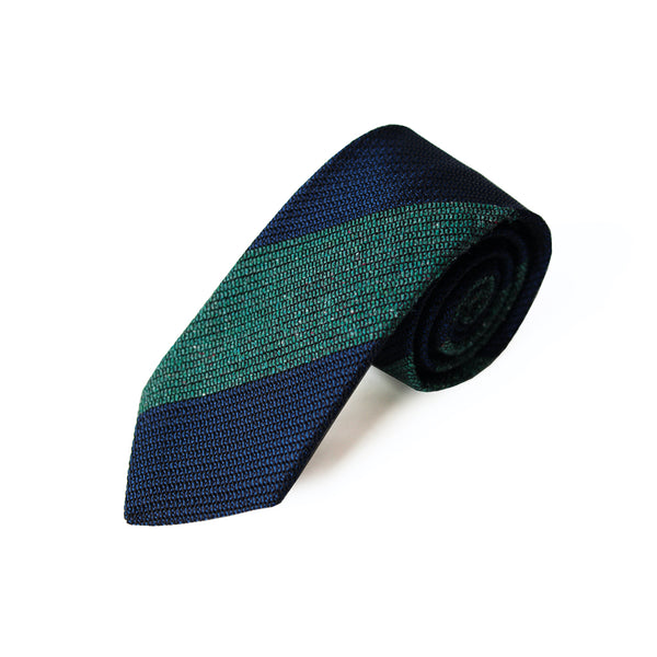 Fresco Tweed Panel Tie (Green x Dark Navy)