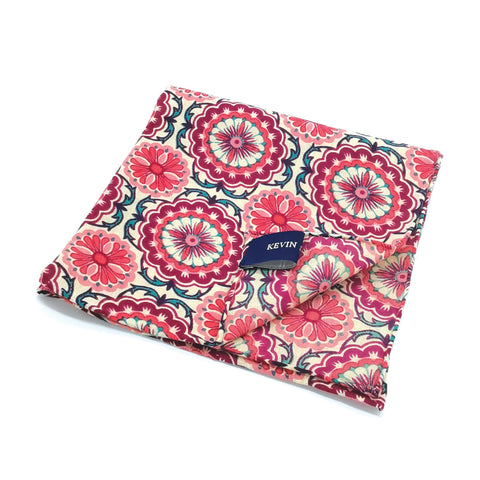 Kevin Seah Hand Block Print Pocket Square - Purple / Cream / Pink