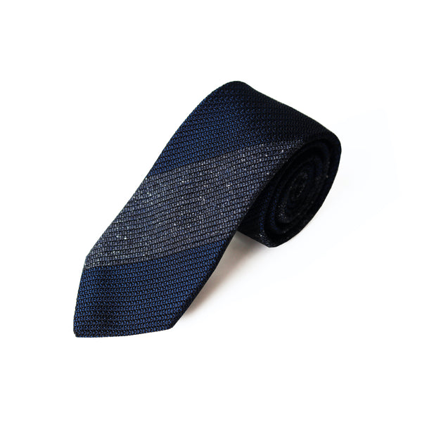 Fresco Tweed Panel Tie (Mixed Navy x Dark Navy)