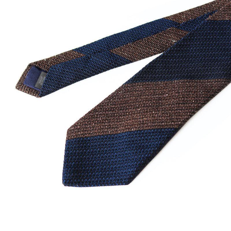 Fresco Tweed Panel Tie (Brown x Dark Navy)