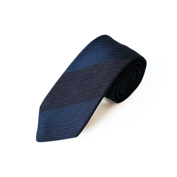 Fresco Tweed Panel Tie (Dark Navy x Dark Navy)