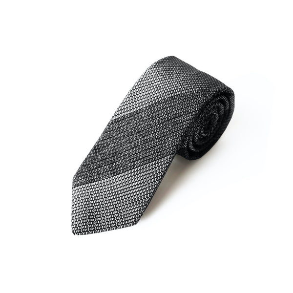 Fresco Tweed Panel Tie (Gray x White)