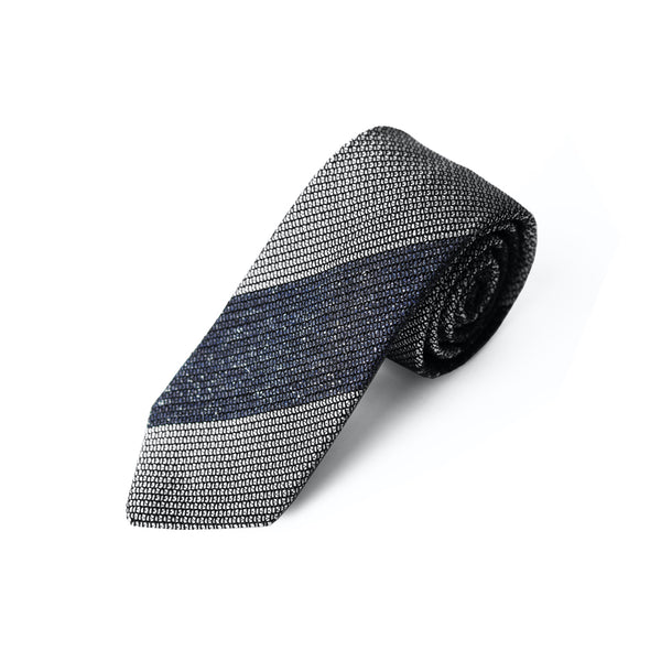 Fresco Tweed Panel Tie (Mixed Navy x White)