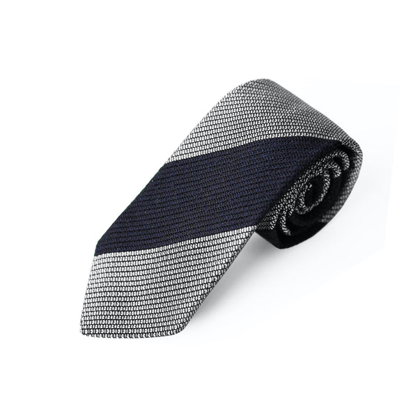 Fresco Tweed Panel Tie (Dark Navy x White)