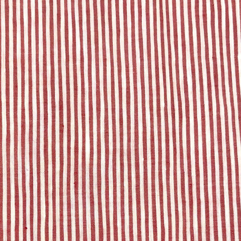 Red/White Stripe Linen Long Sleeved Shirt (Made to order)