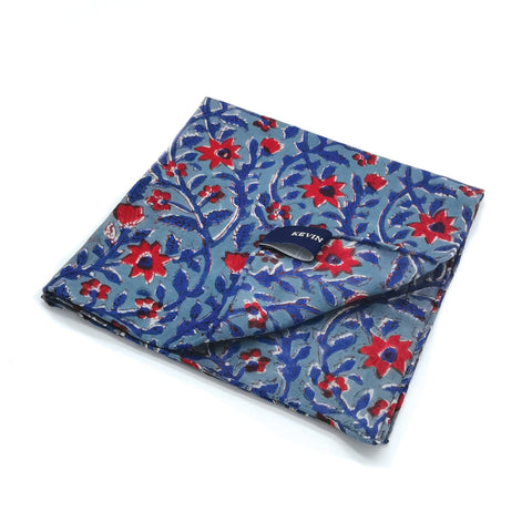 Kevin Seah Hand Block Print Pocket Square - Steel Blue / Red / Blue