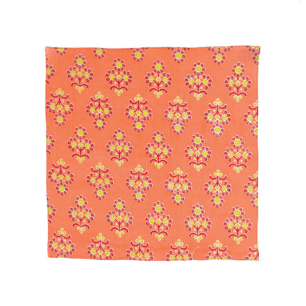 Kevin Seah Hand Block Print Pocket Square - Salmon / Red / Green