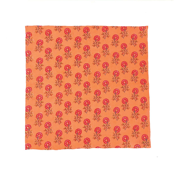 Kevin Seah Hand Block Print Pocket Square - Coral / Purple