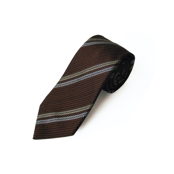 2 Line Regimental Tie (Brown)