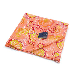 Kevin Seah Hand Block Print Pocket Square - Salmon / Lime Green / Pink