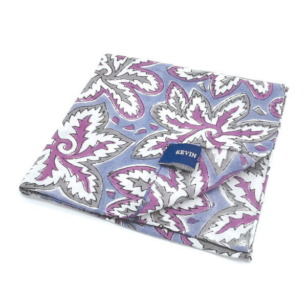Kevin Seah Hand Block Print Pocket Square - Blue / Purple / Grey