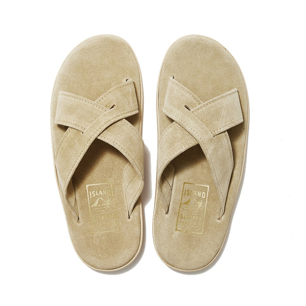 Beige Cream Suede Criss Cross Slide