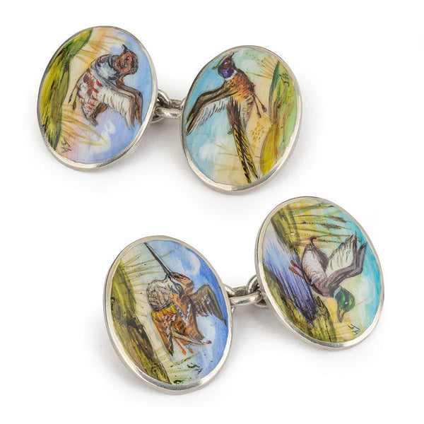 GAME BIRDS HAND DECORATED CUFFLINKS