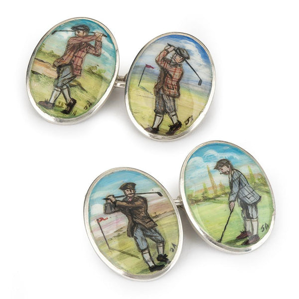 GOLFING HAND DECORATED CUFFLINKS