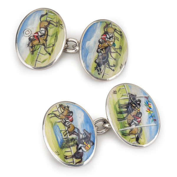 HORSE RACING HAND DECORATED CUFFLINKS