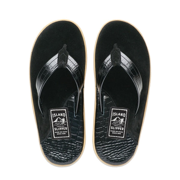 Black Barc/Black Suede Two Tone Leather Thong Sandal