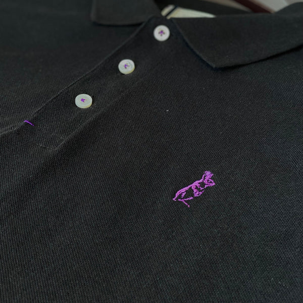 The Classic Kevin Seah Polo Shirt (Black / Purple Logo)
