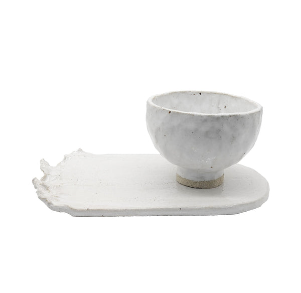 Milk Ceramic Serving Set with Torn Plate