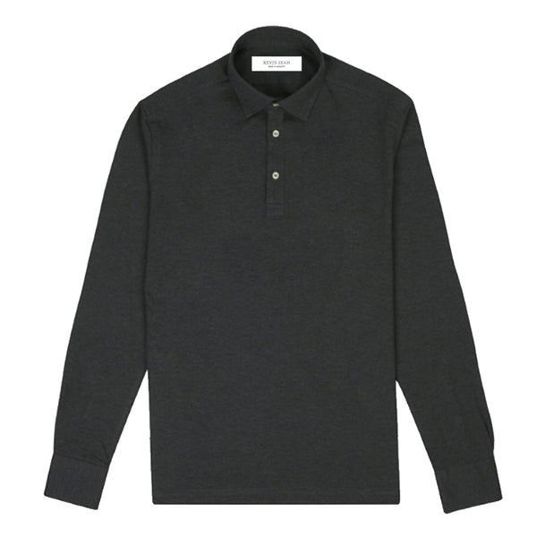 Charcoal Grey Cotton Pique Long Sleeved Polo Shirt (Made to order)